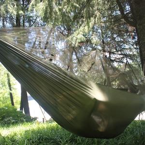 Image 5 - Double Camping Hammock ยุง Bug สุทธิเปลญวนสายรัดต้นไม้ Carabiners Easy Assembly แบบพกพาสำหรับ Survival Travel