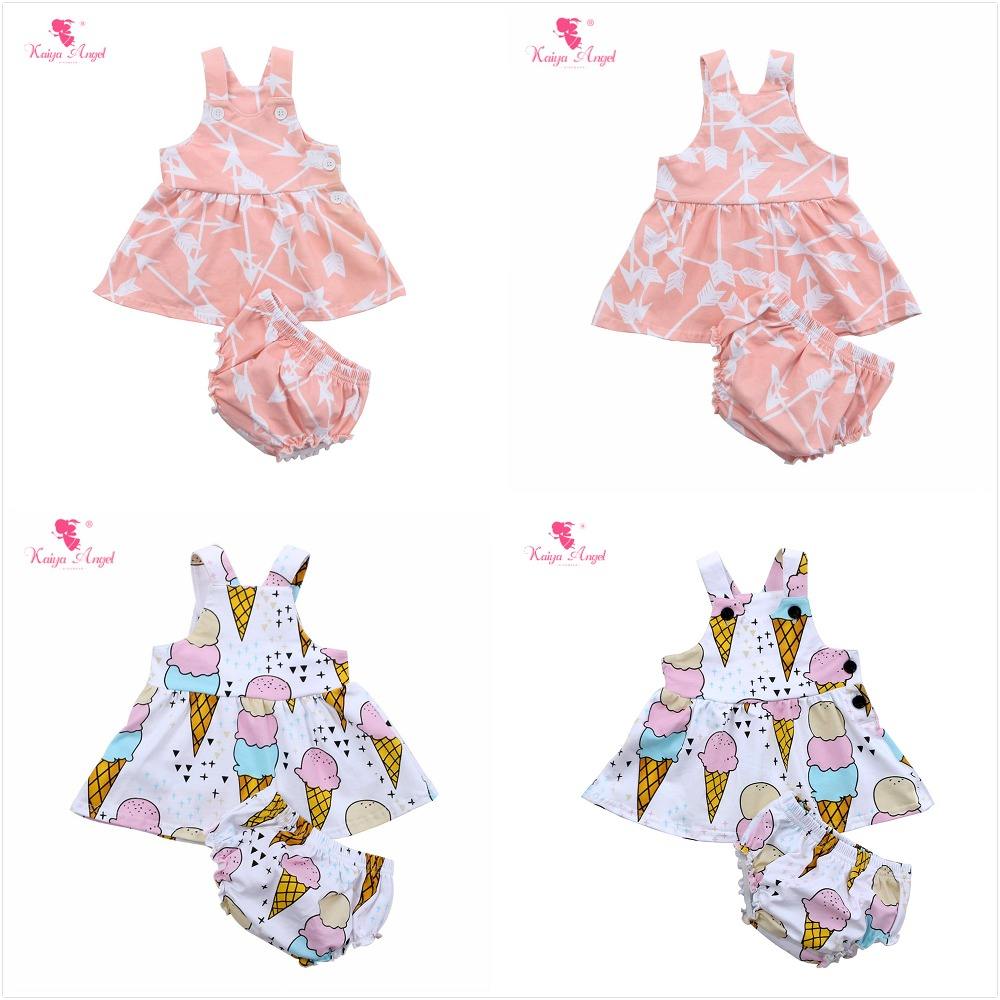 Kaiya Angel Newborn Baby Girls Floral Outfit Sleeveless Dress Tops Ruched Short Toddler Girls Summer Style Boutique Clothing Set