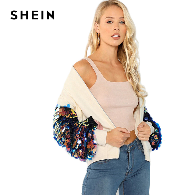 SHEIN White Highstreet Elegant Contrast Sequin Sleeve Pocket Front Zipper Up Jacket Autumn Casual Fashion Women Coat Outerwear 10