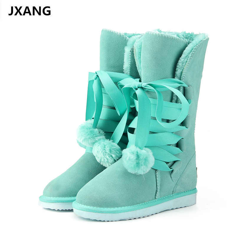 JXANG High Quality  Snow Boots women's winter Boot Women Fashion Genuine Leather Australia Classic Women High Boot Winter