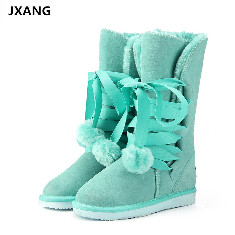 JXANG High Quality Snow Boots women's winter Boot Women Fashion Genuine Leather Australia Classic Women High Boot Winter goncale high quality band snow boots women fashion genuine leather women s winter boot with black red brown ug womens boots