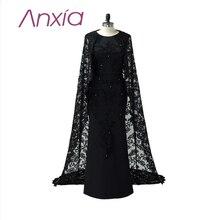 Robe De Soiree Neue Ankunft Lang O Neck Spitze Abendkleid mit Cape 2016 Anxia Elegante Schwarz Einzigartige Plus Größe Party Kleider 2016