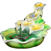 110/220V Vintage Resin Flower Leaves Water Fountain Home Tea Room Decoration Crafts Large Fish Tank Home Decor Purifying Air