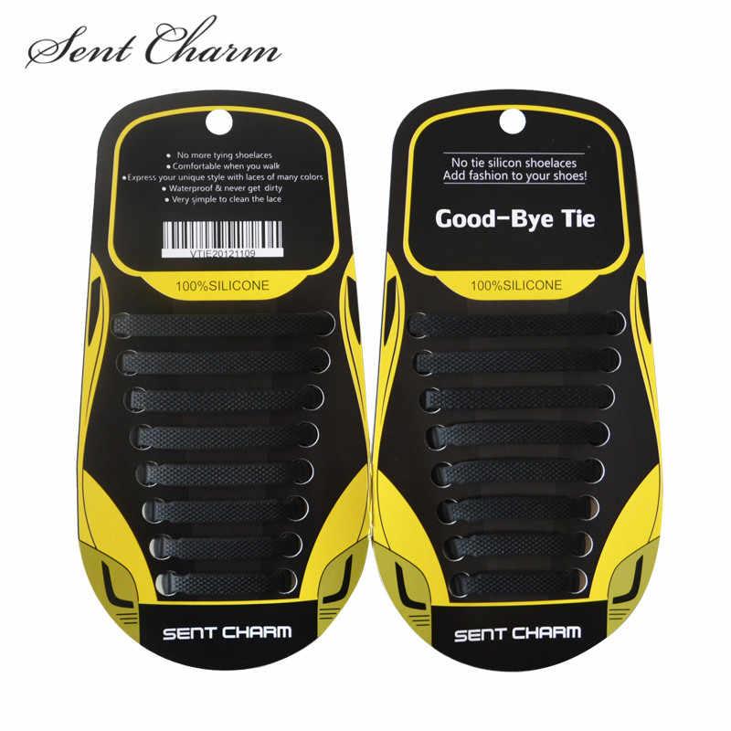 SENTCHARM 16 adet/takım tembel elastik hiçbir kravat ayakabı ücretsiz bağlama silikon siyah renk ayakkabı bağı kolay ayakkabı bağcıkları