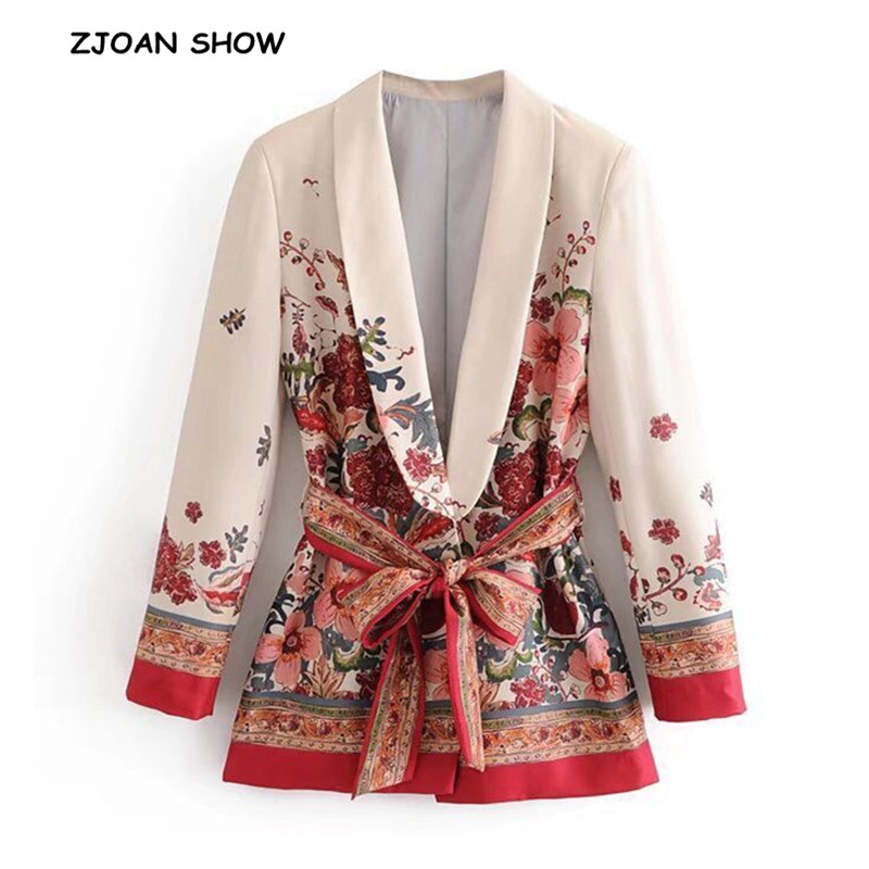 Retro Flower Print Sashes Waist Blazer 2018 Casual Woman Shawl Collar Slim Fit Mid Long Suit Jacket Coat Outerwear With Belt