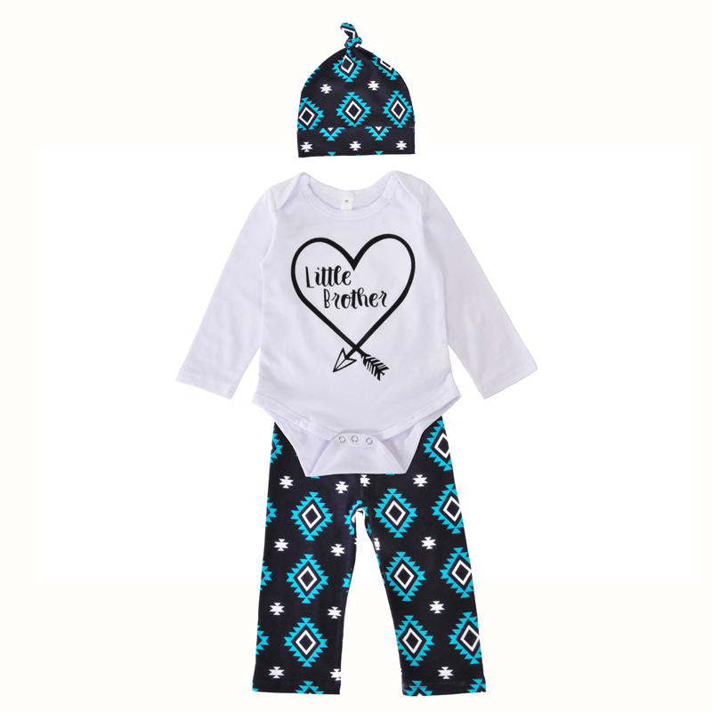 Autumn Newborn Baby Girl Clothing Set Little Brother Kids Clothes Arrow Heart Romper+Geometry Pants+Hats 3pcs Boy Clothing Sets