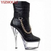 6 inch frauen kurze stiefel winter punk motorrad stiefel 15 cm gold kette Plattform high heels party schuhe star kleid stiefeletten