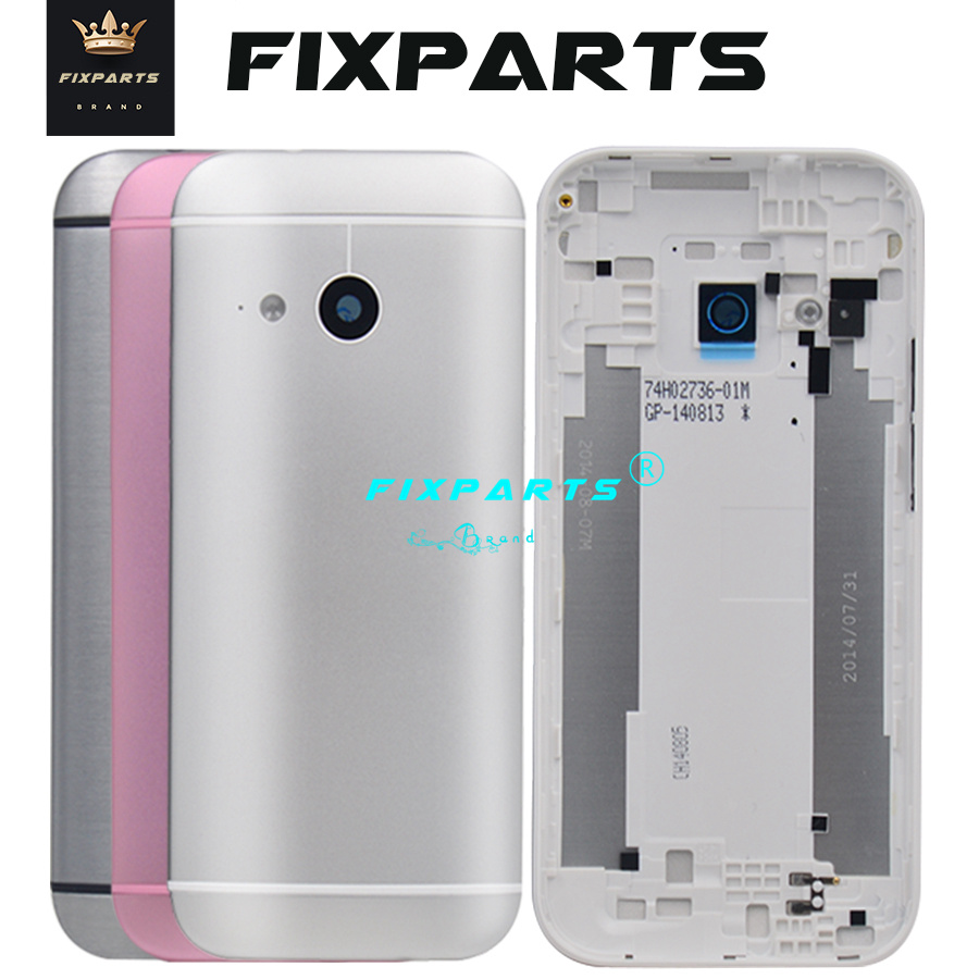 New Metal Back Cover For HTC One 2 M8 Battery Cover Back Rear Housing Door 5.0 Inch M8 Mini Battery With Power Volume Buttons