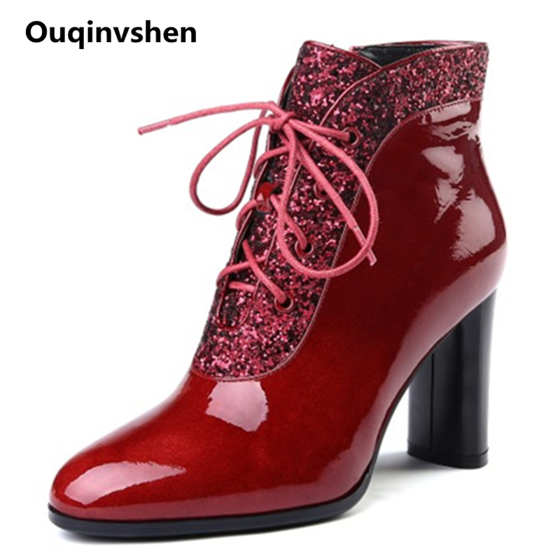 Ouqinvshen Bling Wine Red High Heels Boots Women Plus Size Women 43 Round Toe Autumn Ankle Boots Lace Shoes Shoes Woman Winter enmayer bling platform shoes woman round toe ankle boots for women high heels zippers white shoes plus size 34 47 winter boots