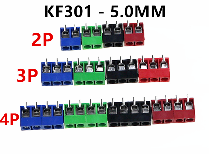 цена на 10Pcs/lot KF301-5.0-2P KF301-3P KF301-4P Pitch 5.0mm Straight Pin 2P 3P 4P Screw PCB Terminal Block Connector