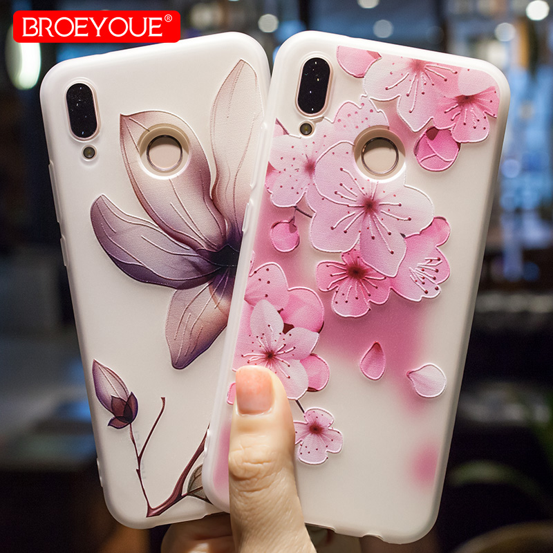 BROEYOUE Case For Huawei P20 P10 P9 P8 Lite 2016 2017 Nova 2 Plus 3D Relief TPU Flowers Case Cover For Huawei Honor 9 6X 7X Lite