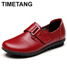 TIMETANG Leather middle-aged women single shoes mother fashion soft leather shoes comfortable leather tie ladies flat shoes C208