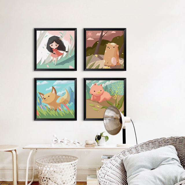 Modern Cute Fairy Tale Cartoon Animals Canvas Painting Art Print Poster Picture Wall Paintings Kids Room