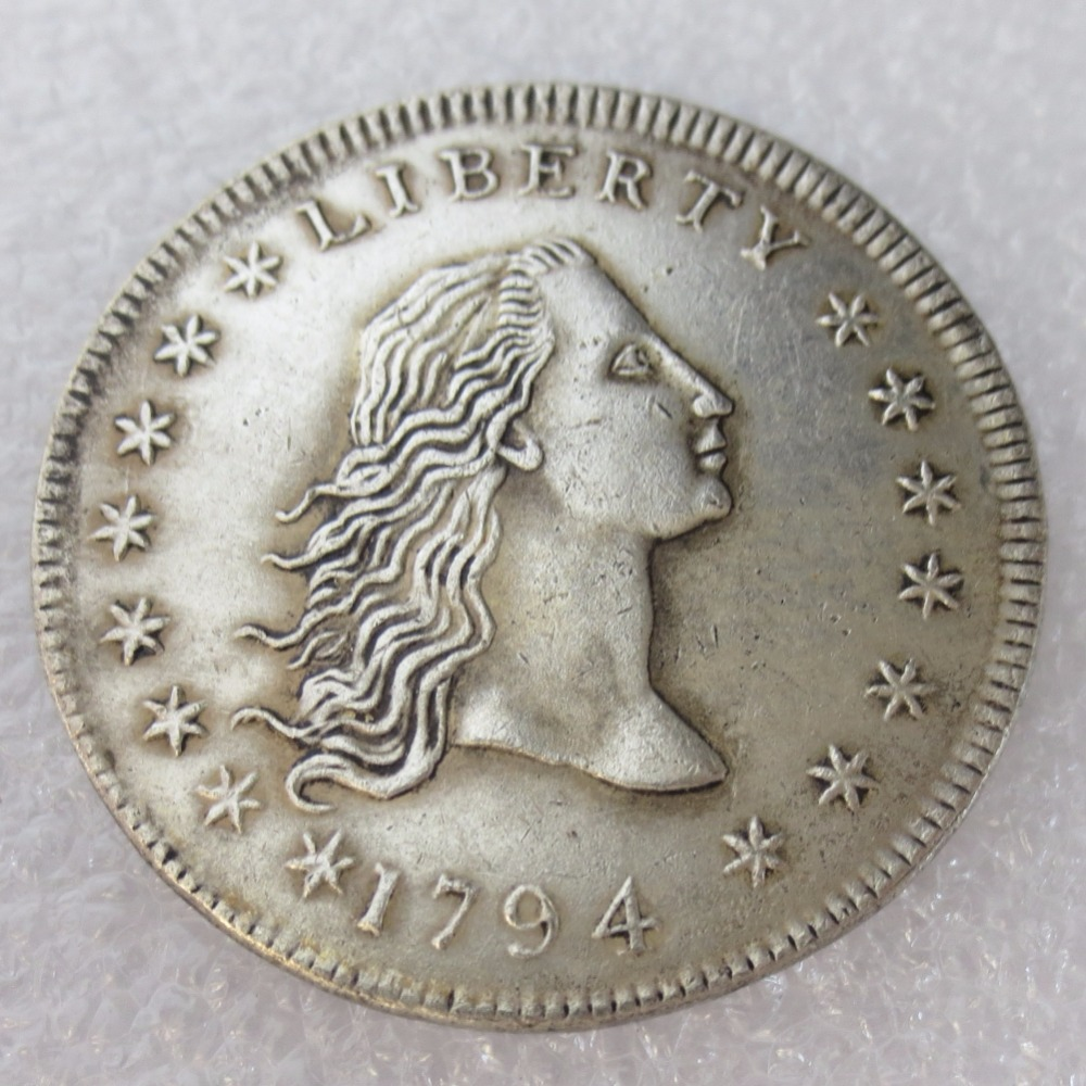 United States Coins 1794 Flowing Hair Brass Silver Plated