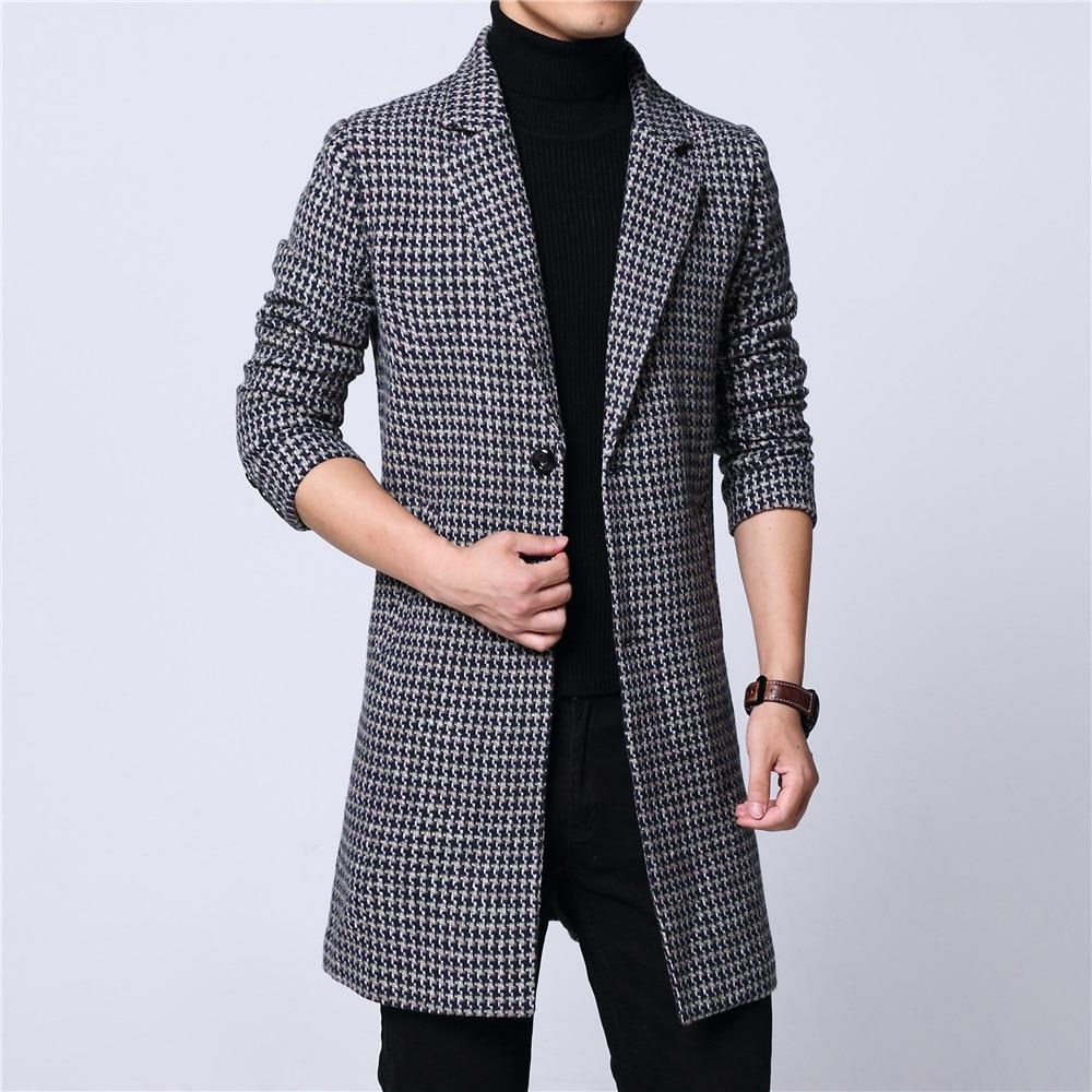 Mens long coat winter woolen melton overcoat puppy plaid two buttons full lining long sleeve M-6XL black 18NovW4 drop shipping