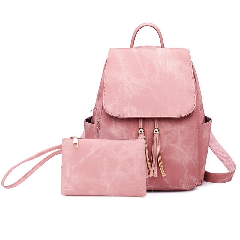 2 Pcs/Set Vintage Matte PU Leather Female Tassel Bagpack Women School Bag Notebook Book Bag Cute Waterproof Bags