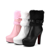 winter high heels shoes woman platform ankle boots for women fashion elegant party womens boots big size 34-43
