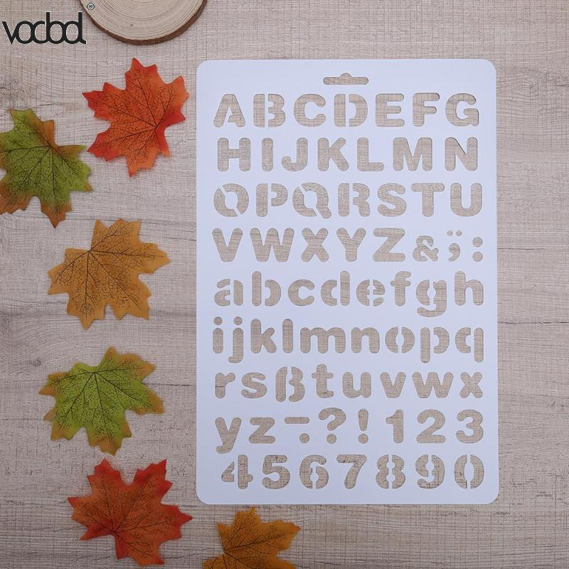 Letter Alphabet Number Layering Stencils For Wall Scrapbooking Painting Template Stamps Photo Album Pochoir Cards Crafts Decor