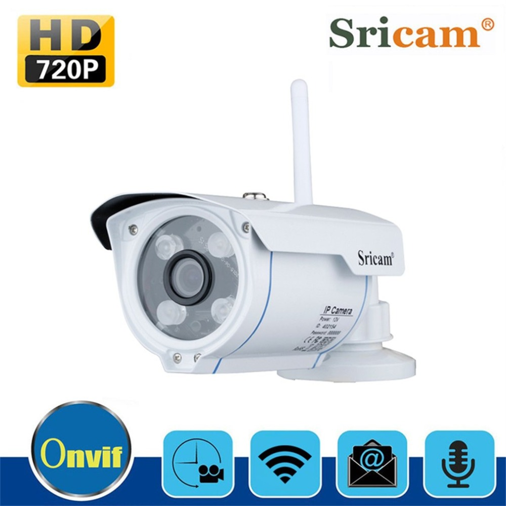 Sricam Waterproof  Wifi IP Camera 720P HD Wireless Outdoor Monitor Motion Detection IR Cut Night Vision Metal Gun Type Camera sricam outdoor waterproof 300kp cmos wireless p2p wifi ir night vision ip camera silvery white