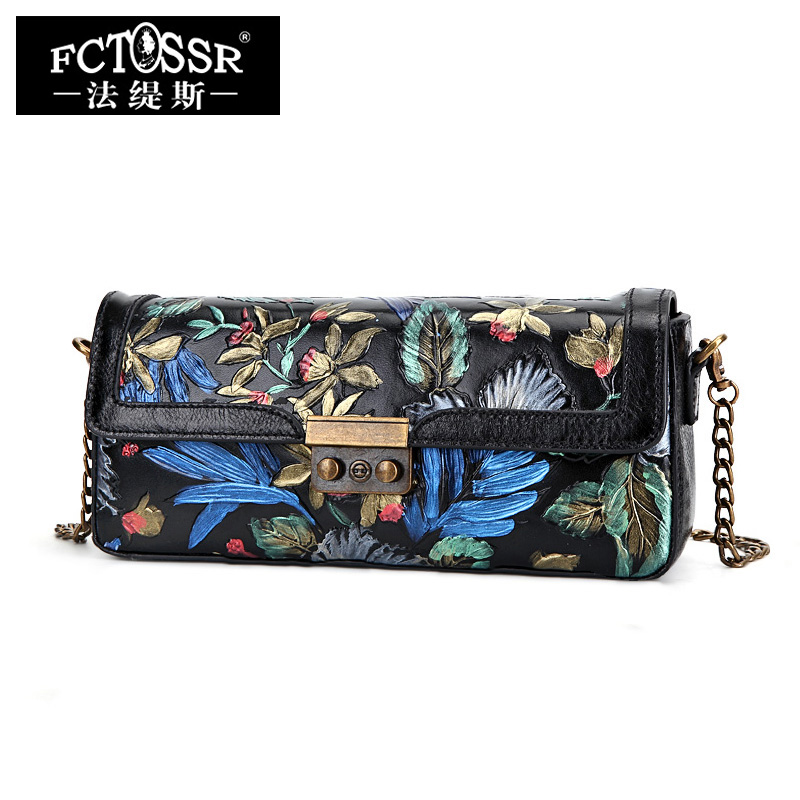 Handmade Genuine Leather Women Bag Hand Painted Day Clutch Female Shoulder Bag Ladies Stylish Messenger Crossbody Bag Envelope