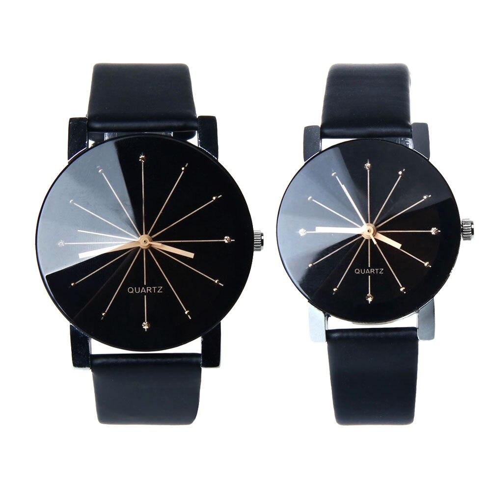 1 пара, часы для влюбленных, кварцевые часы с циферблатом, часы из искусственной кожи, наручные часы Relojes, часы для женщин и мужчин, модные роскошные часы Relogio Feminino Saat - Цвет: Black