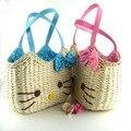 HELLO KITTY women handbags rattan straw girl's beach bag cartoon character fabric high quality 0688
