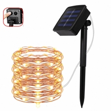 8 mode 50/100/200 led solar LED Light Waterproof Copper Wire String Holiday Outdoor strip Christmas Party Wedding Decor