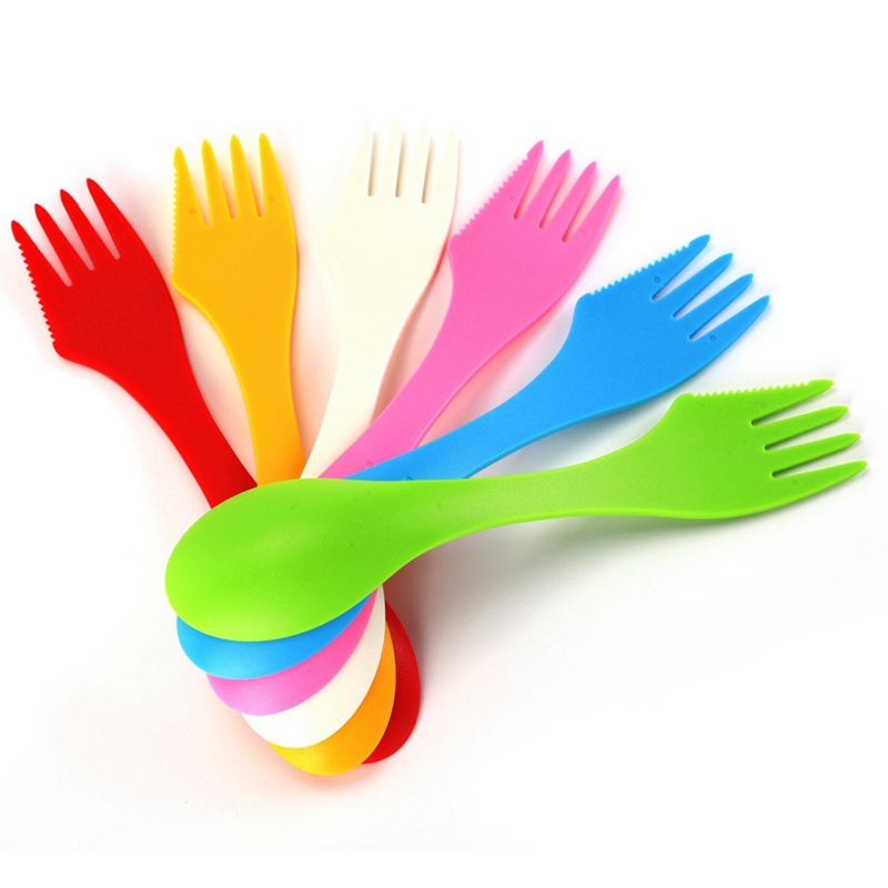 Tableware Gadget Fork-Cutter Spoon Cutlery Combo Plastic Spork Picnic Utensils Travel