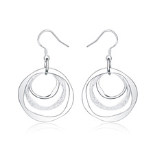 Simple Round Circle Jewelry Women Lady Valentine's Gift  Jewelry Silver Plated Charming Three Circles Earrings Jewelry