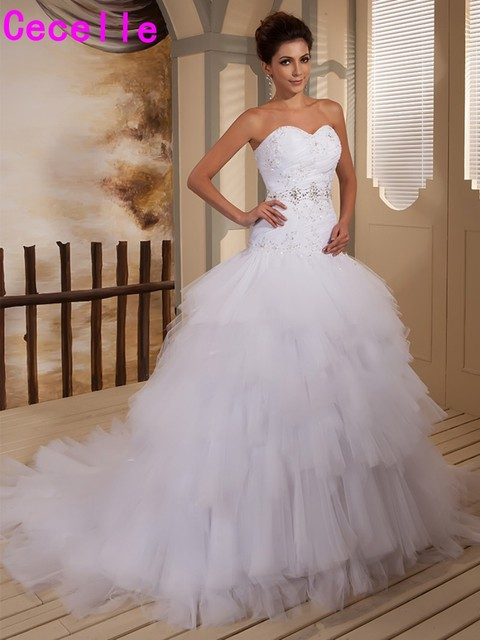 Real 2017 New Designers Ball Gown Tiers Tulle Wedding Dresses Sweetheart Beaded Ruffles Dropped Bridal Gowns