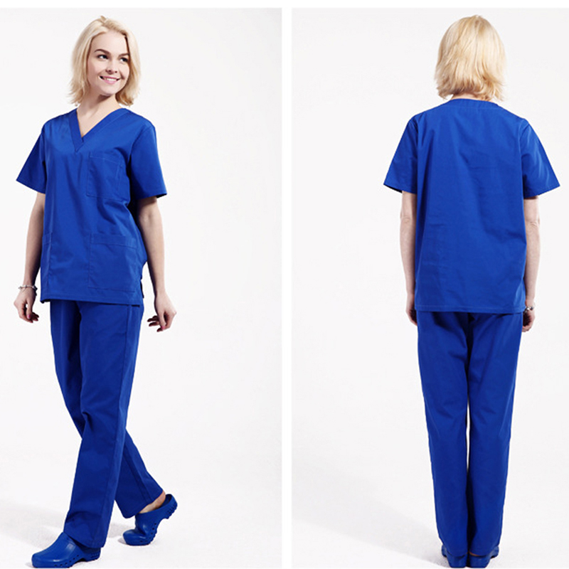 Unisex Doctor&nurse Scrub Uniform Surgical Medical Uniforms/gown/clothes/Sets Uniformes Medico Para Mujer Short Sleeve Top&pants