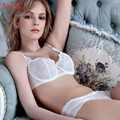 French High-end Temptation Lace Sexy Panties & Bra Briefs Set Ultra Thin Big Cup Lady's Intimates Fashion Women Underwear Set