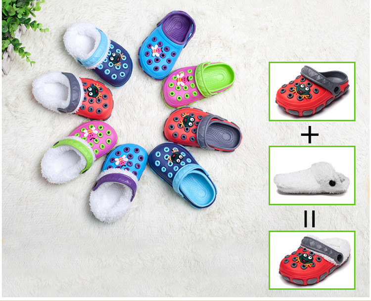 2018 Winter Indoor Kids Warm Shoes Dual Use  Sandals +winter Slippers Boys Girls Slippers Detachable Cute Kids Shoes