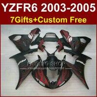 SJ7G Red flame in black bodywork for YAMAHA R6 fairing kit 03 04 05 fairings YZF R6 2003 2004 2005 Motorcycle sets J6UJ