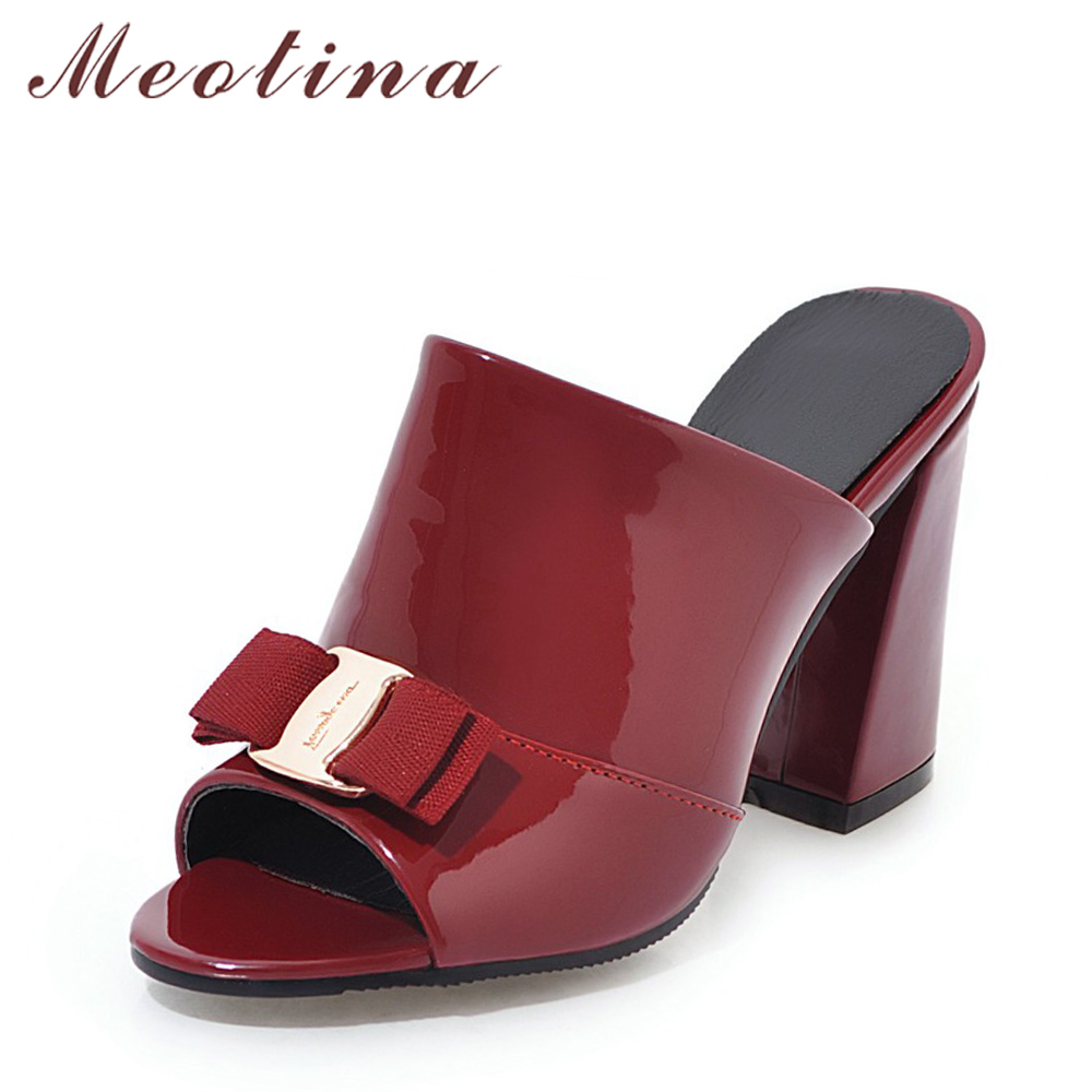 Meotina Women Shoes Summer High Heels Peep Toe Ladies Party Shoes Bow Block Heel Female Slipper Outdoor Red Black Big Size 34-43 meotina genuine leather women shoes female plaid party shoes block heel bow strap high heels kid suede ladies pumps 2018 spring