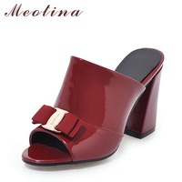 Meotina Women Shoes Summer High Heels Peep Toe Ladies Party Shoes Bow Block Heel Female Slipper Outdoor Red Black Big Size 34 43