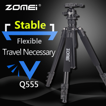 Zomei Q555 מקצועי חצובה אלומיניום גמיש נייד מצלמה חצובה Stand מעיים עם כדור ראש עבור DSLR מצלמה טלפונים חכמים