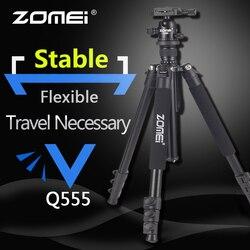 Zomei q555 tripé profissional de alumínio flexível portátil tripé da câmera tripe com bola cabeça para câmera dslr smartphones