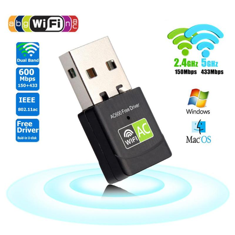 600Mbps USB WiFi Adapter 2 4GHz 5GHz WiFi Antenna PC Mini Wireless Computer Network Card Receiver