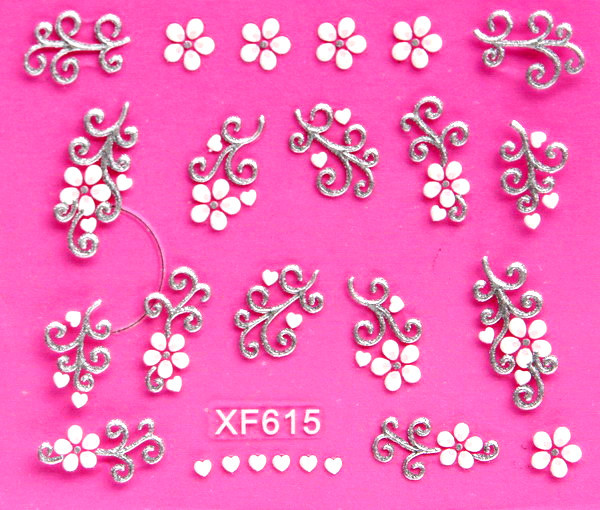Sweet 3D white flower design Transfer Nails Art Sticker decals lady women manicure tools Nail Wraps Decals wholesale XF615 cute cartoon mickey design water transfer nails art sticker decals girl women manicure tools nail wraps decals wholesale