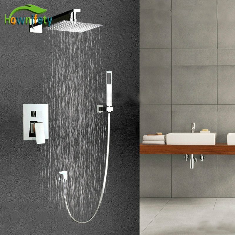 Fashion 8 Square Showerhead Bathroom Mixer Tap ABS Handheld Shower Faucet Chrome Finish Soild Brass Single Handle Shower Set frap new shower faucet set bathroom thermostatic faucet chrome finish mixer tap abs handheld shower wall mounted f2403