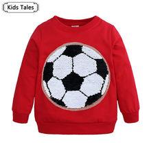 e0a09f7f7b2f4 Children Boys and Girls Sweatshirt Magic Sequin Superman Spiderman Soccer T- shirt Fashion Baby Tops Tees Clothing SC160