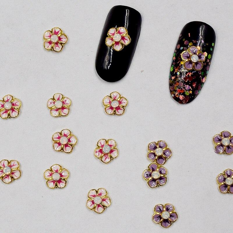 BELESHINY 10psc/pack new 3D flower shaped alloy nail art, nail ...
