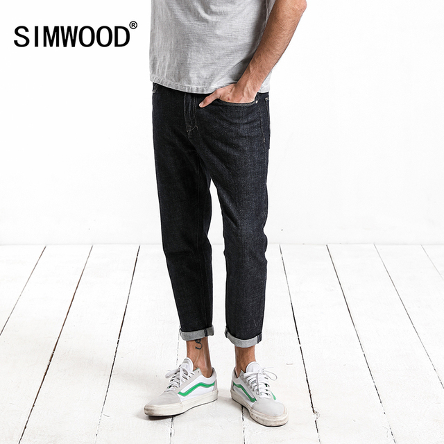 SIMWOOD 2018 Autumn Summer New Ankle-Length Jeans Men Slim Fit Embroidery  Denim Trousers High Quality Plus Size  180097