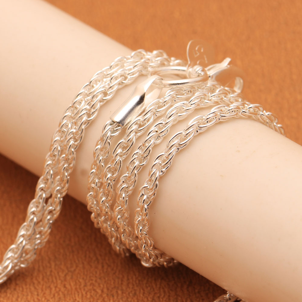 Twisted Singapore Silver Plated Chain Necklace for Women Long Size Fashion Jewelry Accessories Wholesales