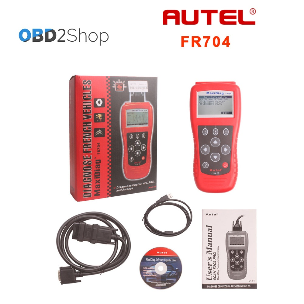 Autel MaxiScan FR704 French Vehicle OBDII EOBD Code Reader Scanner FR 704 100% original autel maxidiag elite md701 all system ds model obdii auto code reader md 701 for japanese cars