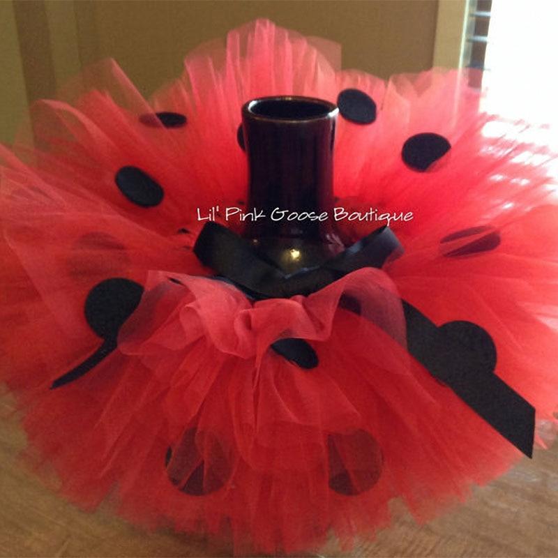 Vajzat Tutu Kuqe Funde Tulle Pettiskirta të bëra me dorë, të bëra me bebe me pika të zeza me hark dhe lule të kuqe kokë