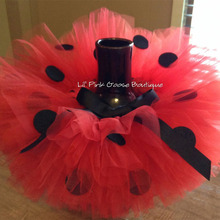 Girls Red Tutu Skirts Baby Handmade Ballet Tulle Pettiskirts with Black Dots Bow and Flower Headband Kids Party Tutus