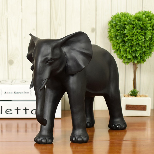 New Handmade Black Large Lucky Elephant Figurine Statue Home Decorations  Resin Animal Ornaments Crafts