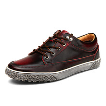 2017 New Arrival High Quality Men Vintage Genuine Leather Washing Distressed Fashion Flat Shoes Lace Up Male Casual Footwear